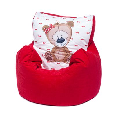 Red Bear Children's Character Micro Suede Bean Bag Chair