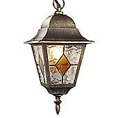 Black/Gold Cast Aluminium Hanging Lantern With Amber Leaded Glass