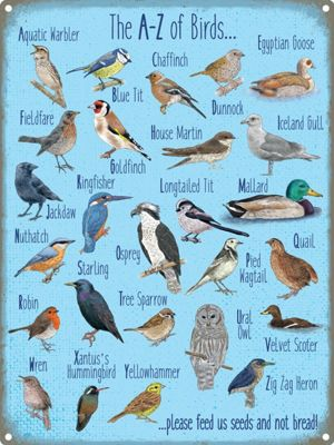 The A-Z Of Birds Tin Sign 30x40cm,