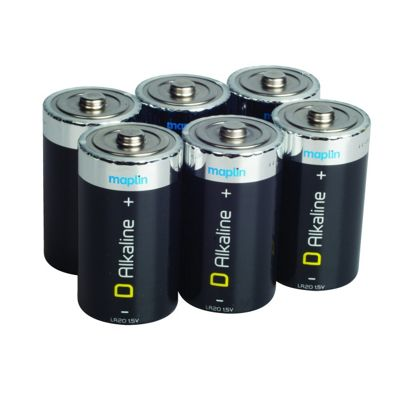 6 Pack Maplin D Battery Alkaline Extra Long-Life Lr20