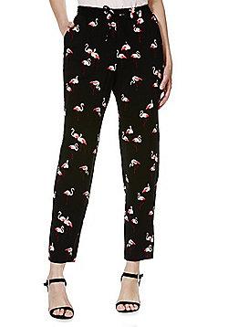 F&F Flamingo Print Tapered Trousers - Black & Pink