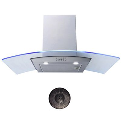 Cookology GML901SS 90cm Blue LED Edge Lit Curved Glass Chimney Cooker Hood & Carbon Filters