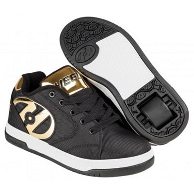 Heelys Propel 2.0 Black Ballistic/Gold Chrome Kids Heely Shoe
