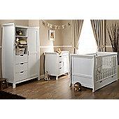 Obaby Stamford Cot Bed 5 Piece Nursery Room Set/Sprung Mattress/Quilt and Bumper Set - White