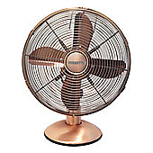 Ferretti FET-FERTDF120CP 30cm Retro Metal Desk Fan Copper