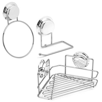 Bathroom Towel Ring & Toilet Roll Holder & Corner Shelf Set With Suction Cups