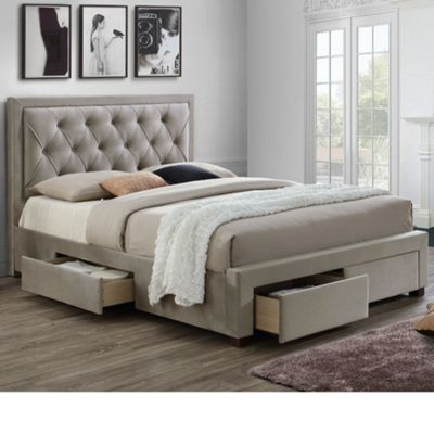 Happy Beds Woodbury Fabric 4 Drawers Storage Bed with Open Coil Spring Mattress - Warm Stone - 4ft6 Double