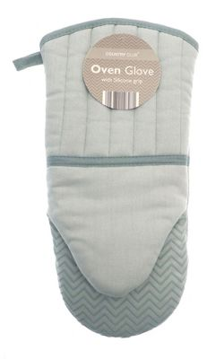Country Club Chevron Silicone Grip Oven Glove Light Blue