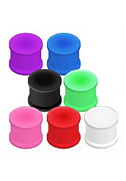 Urban Male Pack of Seven Flexible Silicone Ear Stretching Saddle Plugs Flared 14mm
