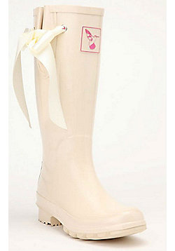 Evercreatures Ladies Bridal Wedding Wellies Silk Ribbon in Cream - Size 8 (UK)
