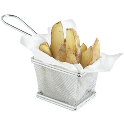 VonShef Mini Chrome Chip Serving Fry Basket Set of 4