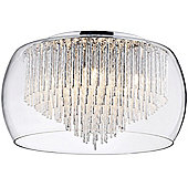 5 Bulb Kandi Tiered Flush Ceiling Light, Chrome