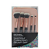 Royal Glamour Collection Rose Gold 5 Piece Make Up Brush Set with Case