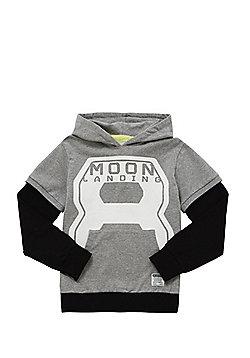 Name It Moon Landing Mock Layer Hoodie - Grey