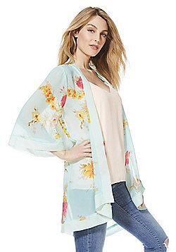Mela London Floral Print Kimono - Mint green