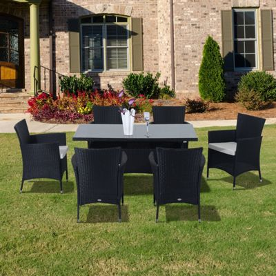 Rattan Garden Furniture Tesco buy outsunny outdoor garden rattan furniture cube dining set black