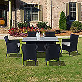outsunny outdoor garden rattan furniture dining 7pc set black
