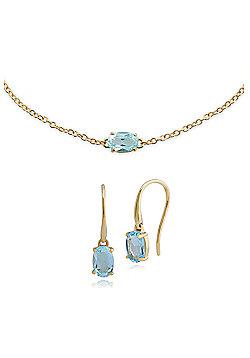 Gemondo 9ct Yellow Gold Blue Topaz Drop Earring & 19cm Bracelet Set