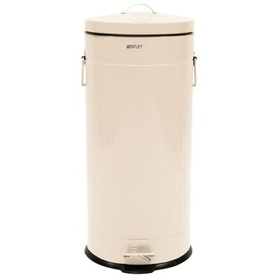 Charles Bentley 30L Retro Round Steel Kitchen Bin Cream