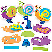 Racing Snail Wind-up Toy Kits for Children to Design Make & Decorate - Creative Spring Foam Craft Set for Kids (Pack of 3)