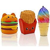 Squishems Set of 3 Jumbo Fast Food Squishies