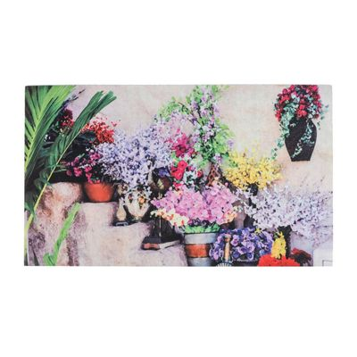 Homescapes Flowers on Step Printed 100% Recycled Rubber Non-Slip Doormat