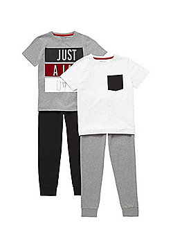 F&F 2 Pack of Slogan and Flecked Pyjamas - Grey