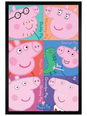 Peppa Pig Black Wooden Framed Squares Poster 61x91.5cm