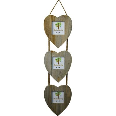 Nicola Spring Triple Heart Driftwood 3 Photo Hanging Picture Frame - 4 x 4