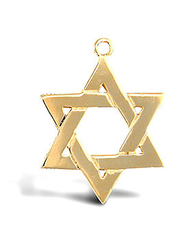 Jewelco London 9ct Solid Gold medium weight Star of David Pendant with barked reverse