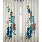 Teal Floral Print Curtains 72s