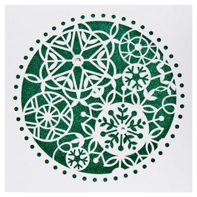 Tesco Luxury Glitter Laser Cut Snowflake Christmas Cards, 6 Pack