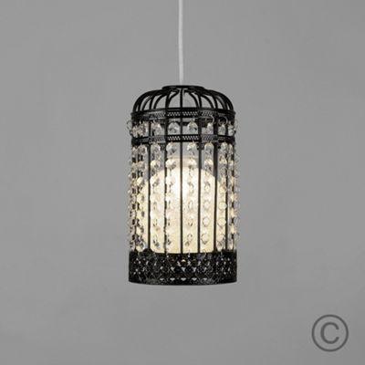 MiniSun Birdcage LED Ceiling Pendant Shade, Gloss Black & Sparkle Globe Bulb