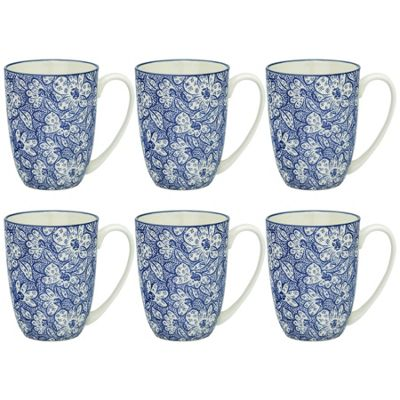Floral Design Porcelain Tea Coffee Mug Cups Blue / White 350ml x6