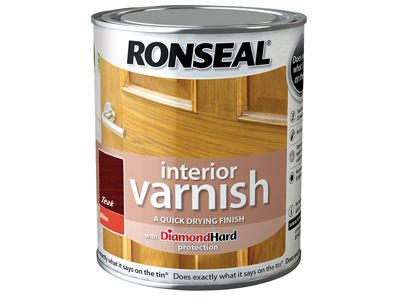 Ronseal Interior Varnish Quick Dry Gloss Teak 750ml