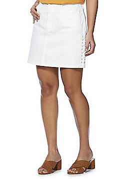 F&F Lace-Up Mid Rise Denim Skirt - White