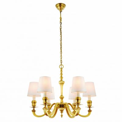 Pendant Light - Solid brass & vintage white silk
