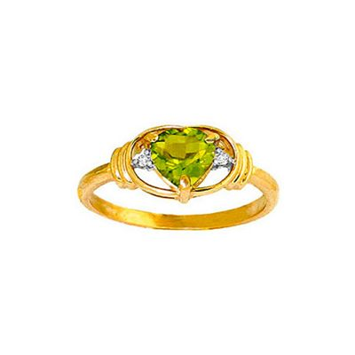 QP Jewellers Diamond & Peridot Halo Heart Ring in 14K Gold - Size F