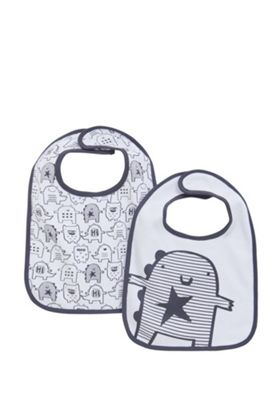 F&F 2 Pack of Happy Monster Print Feeder Bibs White/Black One Size