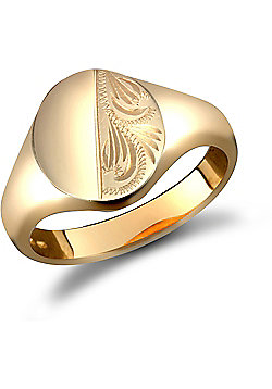 Men's Solid 9ct Yellow Gold Diamond Cut Oval Signet Ring