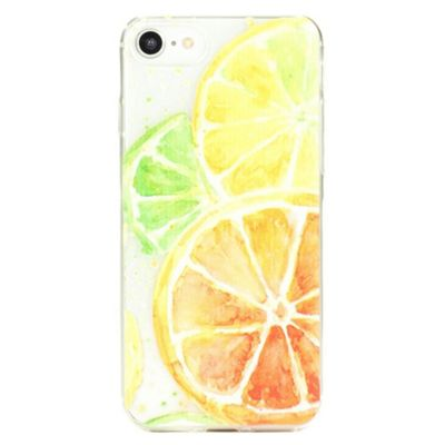 iPhone 8 Fun and Quirky Citrus Fruits Pattern Clear Silicone Case - Multi