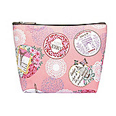 Medium Pink Vintage Paris Print Make Up Bag