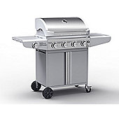 IQ The Missouri 4 Burner Silver Gas BBQ - Includes BBQ Cover and Utensil Set