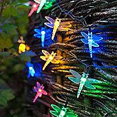 30 Multi Coloured LED Dragonfly Solar Garden Fairy Lights