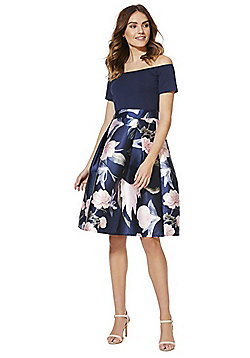 AX Paris Floral Print Flared Bardot Dress - Navy Multi