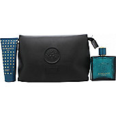 Versace Eros Gift Set 100ml EDT + 100ml Shower Gel + Pouch