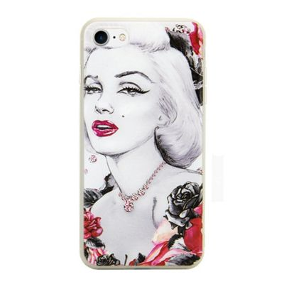 iPhone 8 Marilyn Monroe Illistration Phone Case - Red / Grey