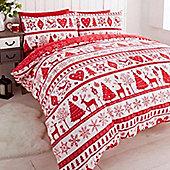 Noel, Christmas Themed Single Bedding - Red