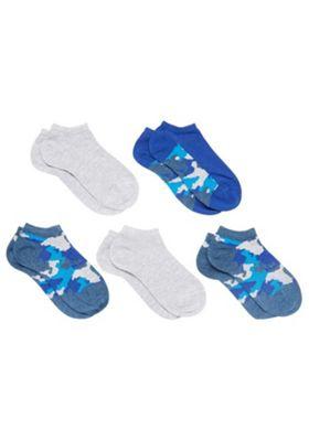 F&F 5 Pair Pack of Camoflage Trainer Socks Multi Child Shoe 6-8 1/2