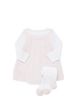 F&F 3 Piece Knitted Pinafore Set - Pink